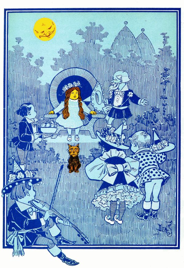 Vintage illustration from original Wonderful Wizard of Oz of Dorothy, Toto and munchkins with silver shoes
