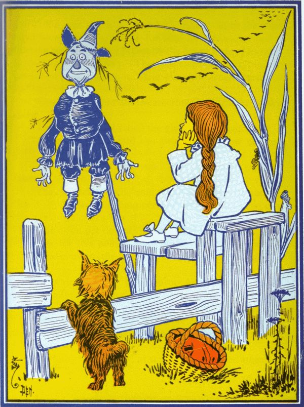 Vintage illustration from original Wonderful Wizard of Oz of Dorothy and scarecrow