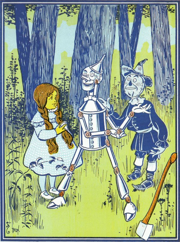 Vintage illustration from original Wonderful Wizard of Oz of Dorothyand scarecrow meeting tin man