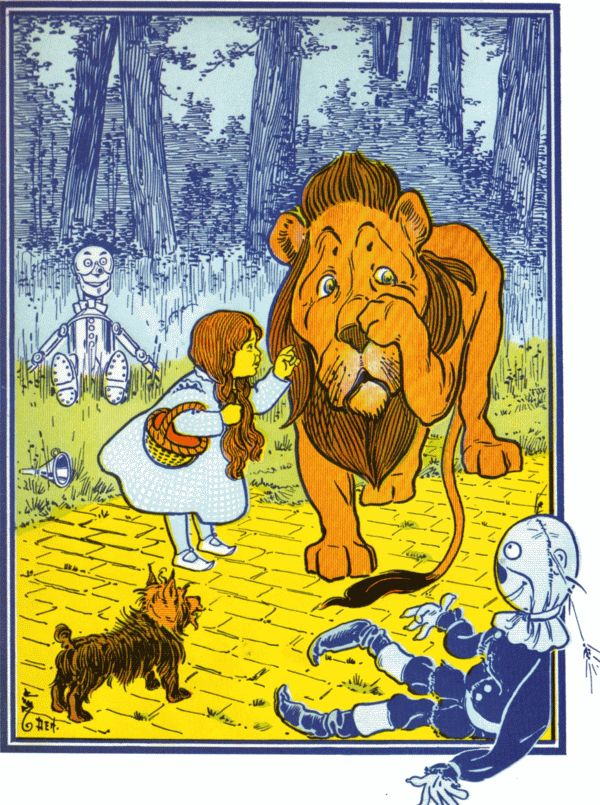 Vintage illustration from original Wonderful Wizard of Oz of Dorothyand scarecrow meeting the lion