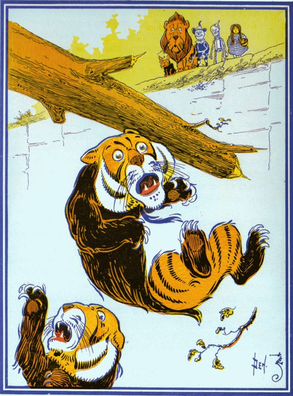 Vintage illustration from original Wonderful Wizard of Oz of scared tiger