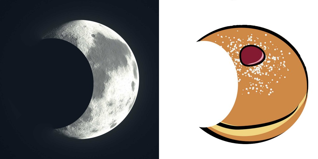 Crescent moon and cake with bite, from Chinese short story for kids The Moon Cake