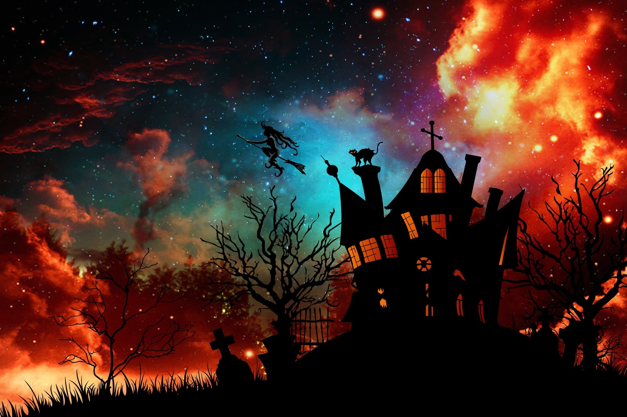 Illustration of witch's house from Grimm brothers fairytale The Musicians of Bremen