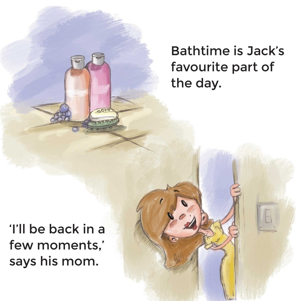 Book page 1 from short story for kids Bathtub Safari by Book Dash