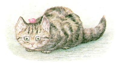 Illustration of cat by Beatrix Potter for children's story Miss Moppet