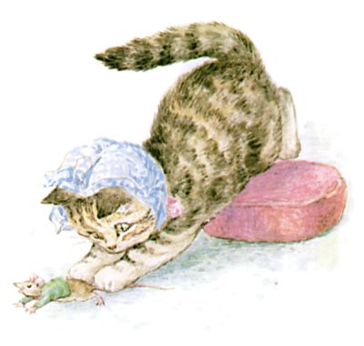 Illustration of kitten catching mouse by Beatrix Potter for children's story Miss Moppet