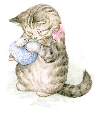 Illustration of kitten wrapping mouse in blue scarf by Beatrix Potter for children's story Miss Moppet