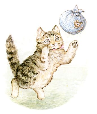Illustration of kitten playing with mouse in ball by Beatrix Potter for children's story Miss Moppet