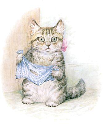 Illustration of surprised kitten by Beatrix Potter for children's story Miss Moppet