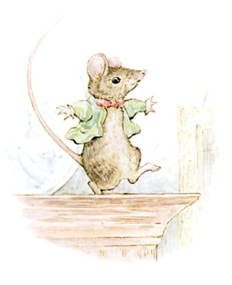 Illustration of dancing mouse by Beatrix Potter for children's story Miss Moppet