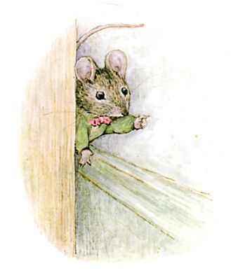 Illustration of mouse by Beatrix Potter for children's story Miss Moppet