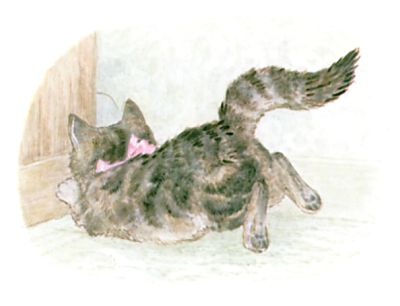 Illustration of cat running by Beatrix Potter for children's story Miss Moppet