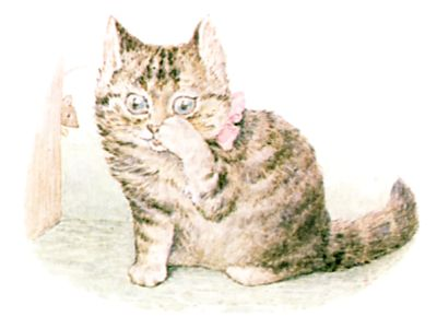 Illustration of cat touching paw to nose by Beatrix Potter for children's story Miss Moppet