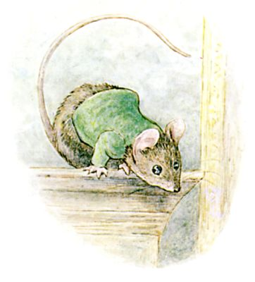 Illustration of sniffing mouse by Beatrix Potter for children's story Miss Moppet
