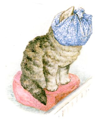 Illustration of cat with blue scarf on head by Beatrix Potter for children's story Miss Moppet