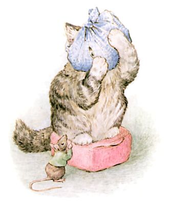 Illustration of mouse and cat with scarf on head by Beatrix Potter for children's story Miss Moppet