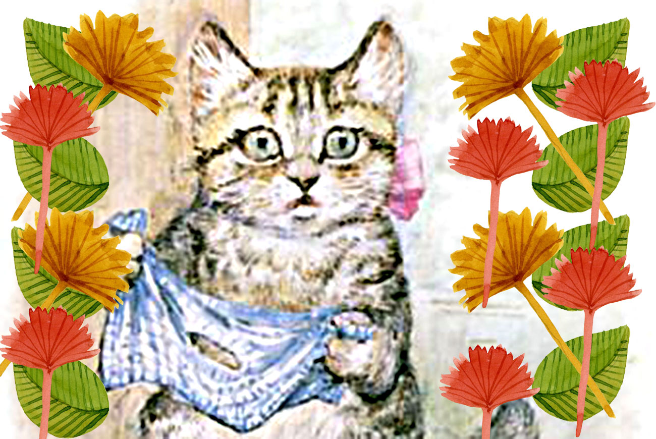 Illustration of cat and leaves by Beatrix Potter for children's story Miss Moppet