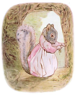 Tale of Timmy Tiptoes by Beatrix Potter - illustration of female squirrel in pink dress
