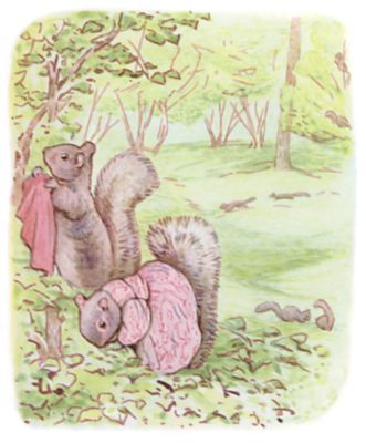 Tale of Timmy Tiptoes by Beatrix Potter - illustration of two squirrels searching in forest