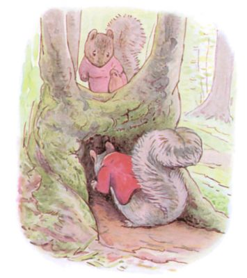 Tale of Timmy Tiptoes by Beatrix Potter - illustration of two squirrels in clothes looking under branch