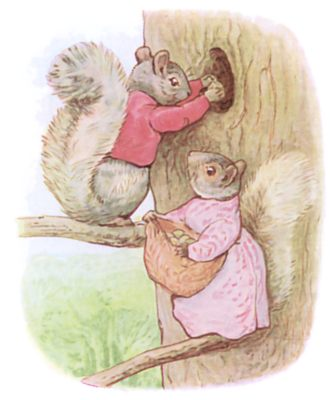Tale of Timmy Tiptoes by Beatrix Potter - illustration of two squirrels storing nuts
