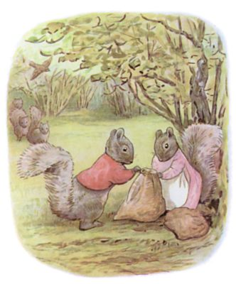 Tale of Timmy Tiptoes by Beatrix Potter - illustration of squirrels filling bag together