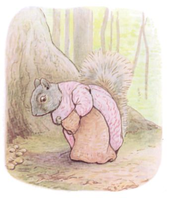 Tale of Timmy Tiptoes by Beatrix Potter - illustration of old lady squirrel in pink dress