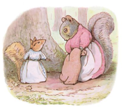 Tale of Timmy Tiptoes by Beatrix Potter - illustration of squirrels talking at bottom of tree