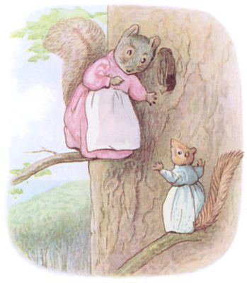 Tale of Timmy Tiptoes by Beatrix Potter - illustration of squirrels listening at hole in tree