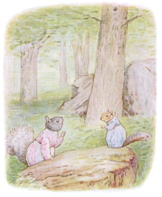 Tale of Timmy Tiptoes by Beatrix Potter - illustration of squirrels talking in forest