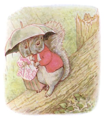 Tale of Timmy Tiptoes by Beatrix Potter - illustration of two squirrels under umbrella