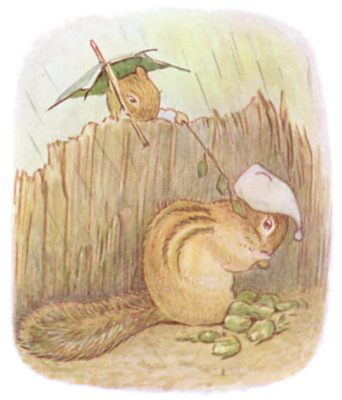 Tale of Timmy Tiptoes by Beatrix Potter - illustration of squirrels with leaf umbrellas