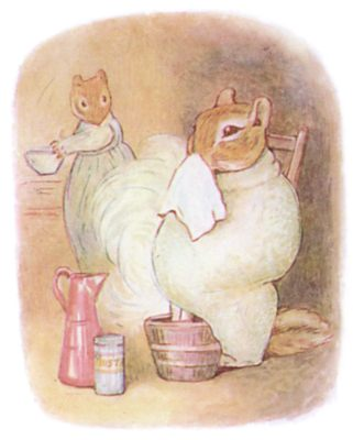 Tale of Timmy Tiptoes by Beatrix Potter - illustration of squirrel mom and dad in house