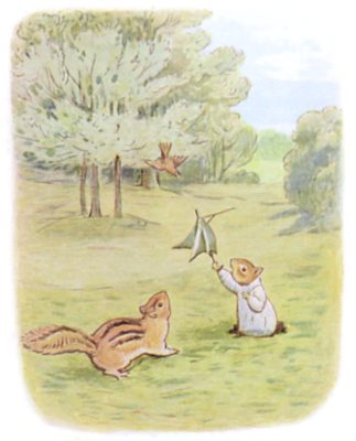 Tale of Timmy Tiptoes by Beatrix Potter - illustration of squirrels playing in park