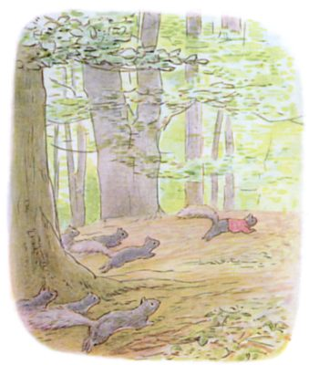 Tale of Timmy Tiptoes by Beatrix Potter - illustration of squirrels running through forest
