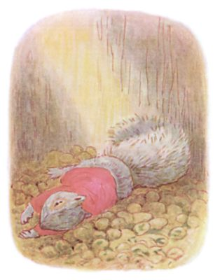 Tale of Timmy Tiptoes by Beatrix Potter - illustration of squirrel in red sweater on ground