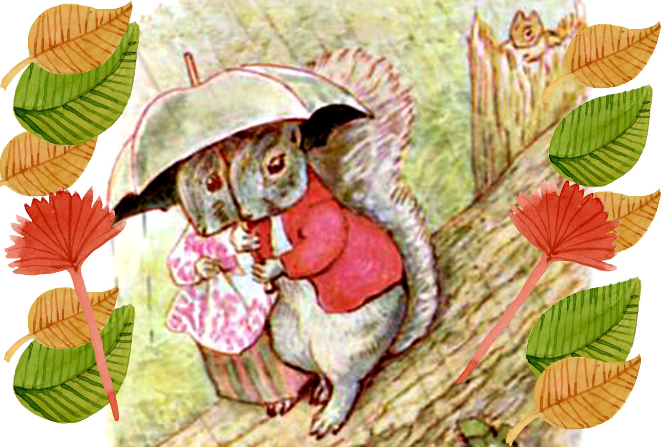 Bedtime stories Timmy Tiptoes by Beatrix Potter squirrels under umbrella
