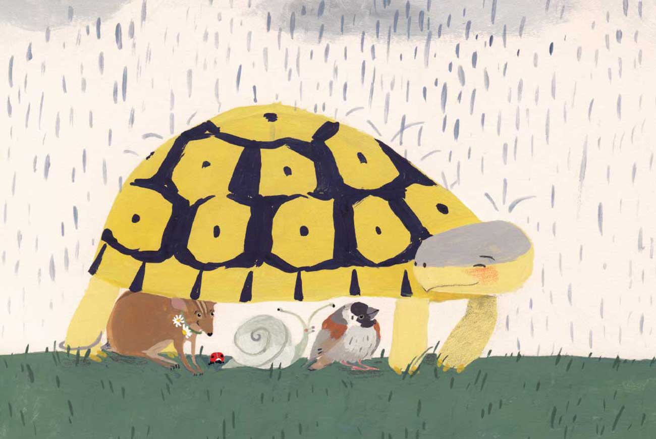 Illustration of tortoise sheltering animals from rain from short story for kids Tortoise Finds His Home by Book Dash