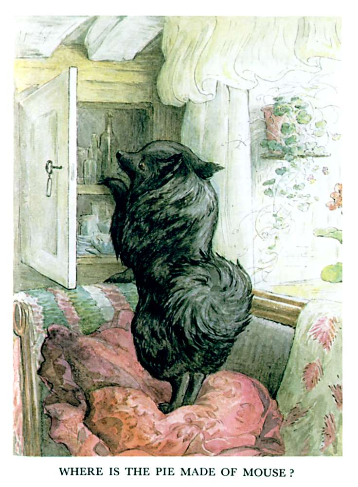 Illustration of black dog standing on chair for kids story Pie Patty Can by Beatrix Potter