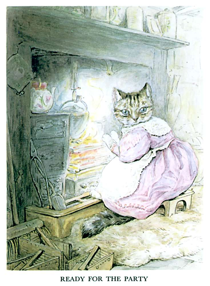 Illustration of cat at the hearth for kids story Pie Patty Can by Beatrix Potter
