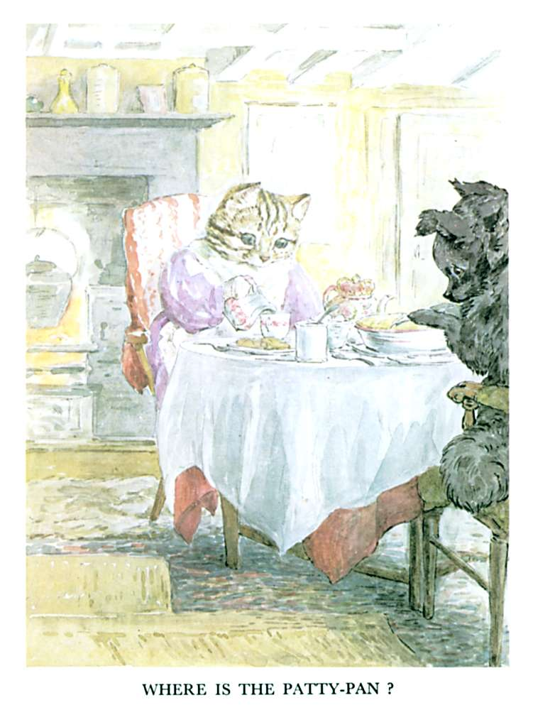 Illustration of cat at dining table, for kids story Pie Patty Can by Beatrix Potter