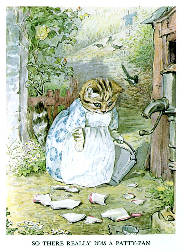 Illustration of cat in dress with broken dish for kids story Pie Patty Can by Beatrix Potter