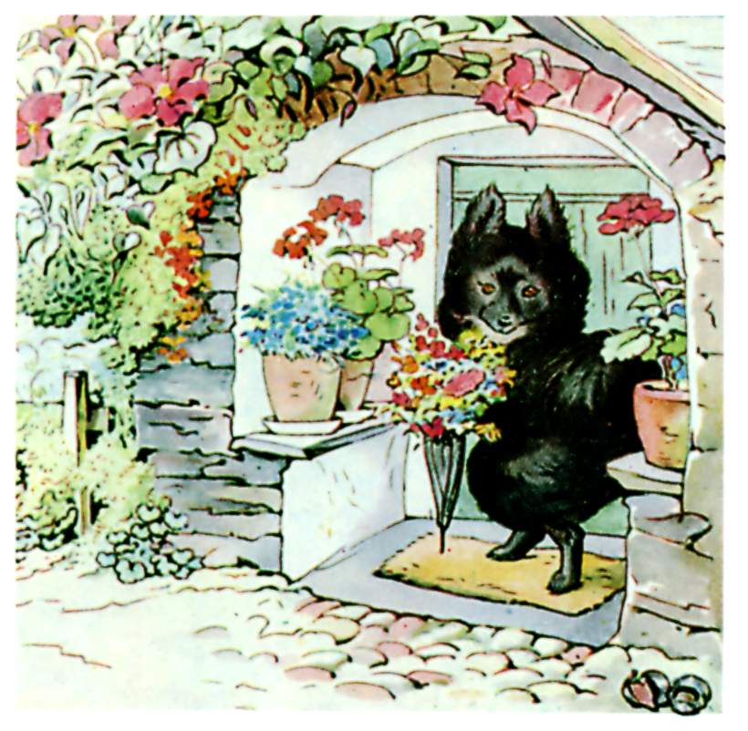 Illustration of black dog in kennel for kids story Pie Patty Can by Beatrix Potter