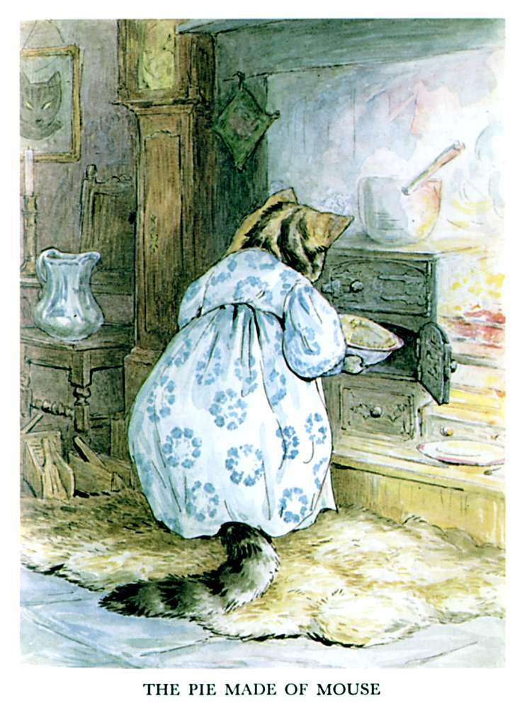 Illustration of cat sorting clothes for kids story Pie Patty Can by Beatrix Potter