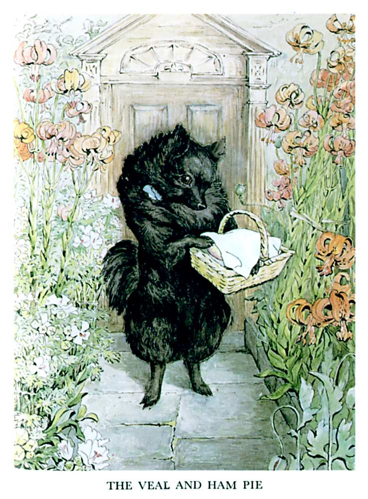 Illustration of black dog with shopping basket for kids story Pie Patty Can by Beatrix Potter