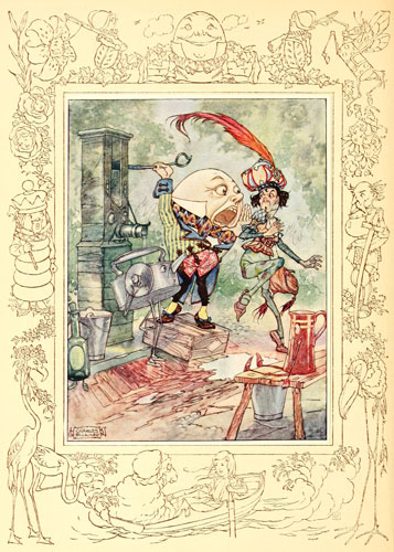 Illustration by Charles Folkard of Humpty Dumpty from Lewis Carroll's Through the Looking Glass