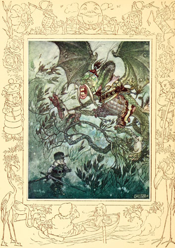 Illustration by Charles Folkard of Jabberwocky from Lewis Carroll's Through the Looking Glass