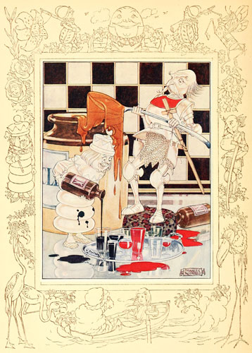 Illustration by Charles Folkard of red and white chess pieces from Lewis Carroll's Through the Looking Glass