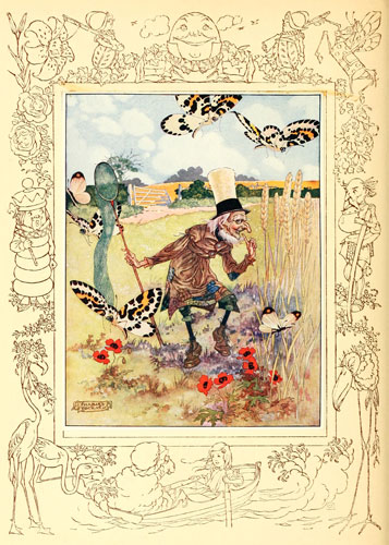 Illustration by Charles Folkard of Lion and the Unicorn from Lewis Carroll's Through the Looking Glass