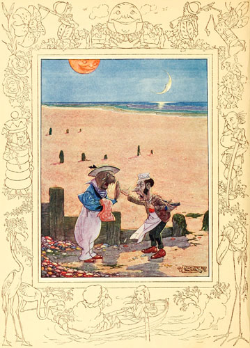 Illustration by Charles Folkard of Walrus and the Carpenter from Lewis Carroll's Through the Looking Glass